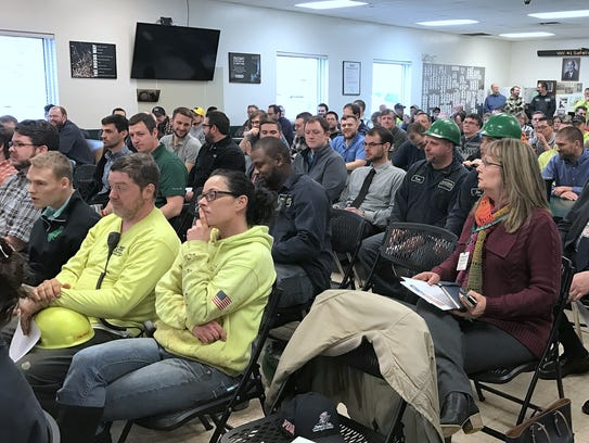 Employees of Vulcraft of New York in Chemung take part