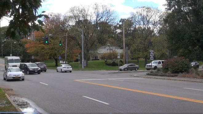 The intersection of Route 96 (East Avenue) and Route 31F in Pittsford.