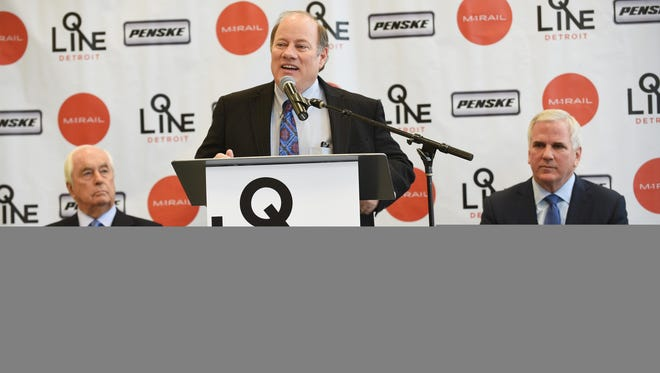 Mayor Mike Duggan discusses the Penske Tech Center on Tuesday.