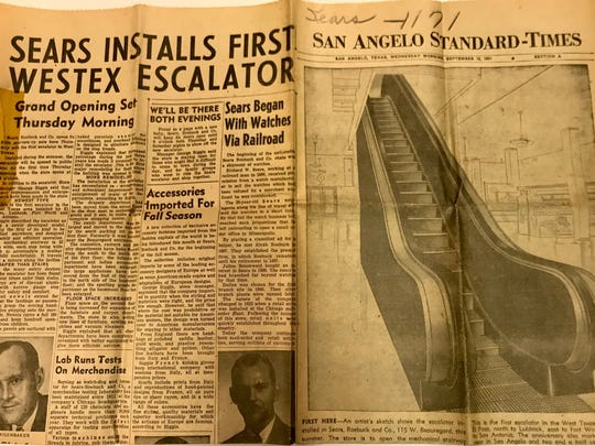 A front page newspaper clipping credits San Angelo with getting the first escalator in West Texas thanks to Sears, Roebuck and Co.