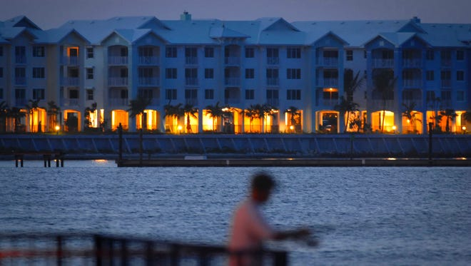 The Harborage Yacht Club condominiums along the St. Lucie River waterfront at the north end of the Roosevelt Bridge in Stuart stretch to the top of the area's height restrictions on buildings. Height limits vary based on a number of different factors, but both Martin County and the City of Stuart have a blanket restriction of four stories.