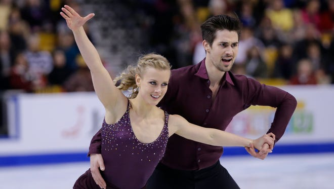Lansing native Madison Hubbell, left, and Zachary Donohue of the United States compete during the ice dance short program at the World Figure Skating Championships on Wednesday, March 30, 2016, in Boston.