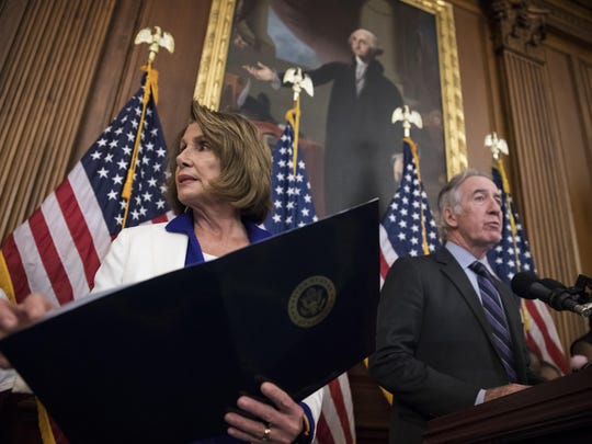 House Minority Leader Nancy Pelosi, D-Calif., left, and Rep. Richard Neal, D-Mass., the ranking member of the Ways and Means Committee, hold a news conference to dispute GOP claims about their tax reform bill and its effect on Americans, on Capitol Hill in Washington, Friday, Nov. 3, 2017. (AP Photo/J. Scott Applewhite)
