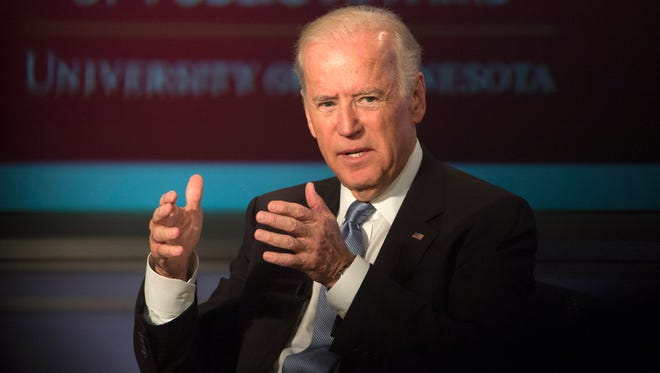 Vice President Biden speaks at George Washington University in Washington on Oct. 20, 2015, during a forum honoring the legacy of former vice president Walter Mondale.