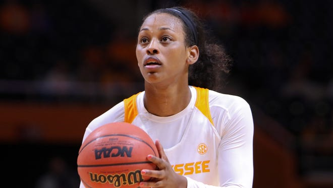 Tennessee Lady Volunteers forward Bashaara Graves (12) shoots a free throw during the first quarter against the Penn State Lady Lions at Thompson-Boling Arena.