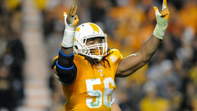 Tennessee Volunteers defensive lineman Curt Maggitt (56) during the first half against the Missouri Tigers at Neyland Stadium. 2014 photo