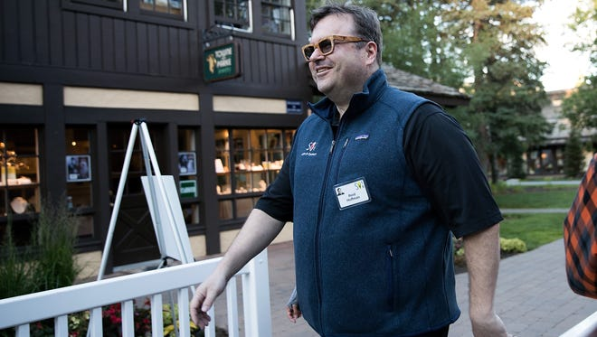 Reid Hoffman, executive chairman of LinkedIn, attends the annual Allen & Company Sun Valley Conference, July 6, 2016, in Sun Valley, Idaho.