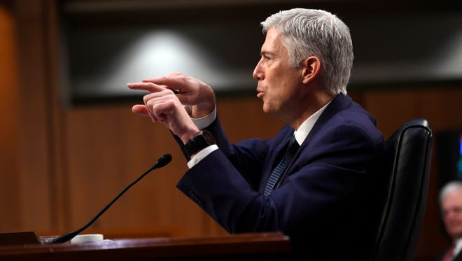 Supreme Court nominee Neil Gorsuch testifies before the Senate Judiciary Committee during day three of his confirmation hearing March 22.