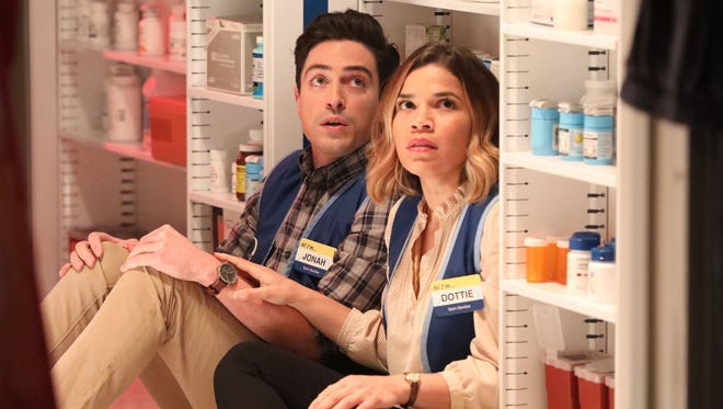 Ben Feldman as Jonah and America Ferrera as Amy in NBC's 'Superstore.'