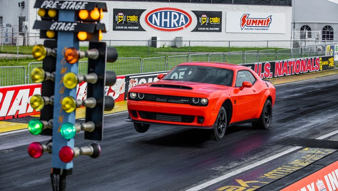 The 2018 Dodge Challenger SRT Demon on the track at Lucas Oil Raceway in Indianapolis in July 2017.