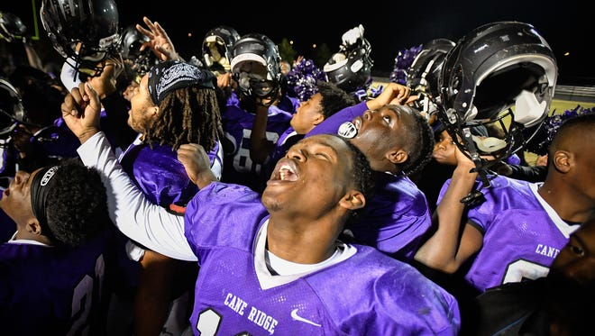 Cane Ridge's Theo Chisom (10) celebrates after their 6A quarterfinal victory against Ravenwood at Cane Ridge High School in Antioch, Tenn., Friday, Nov. 17, 2017.