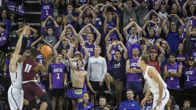 GCU fans cheer during the game against Little Rock at Grand Canyon University Arena on Saturday, Nov. 18, 2017 in Phoenix. GCU won, 76-51.