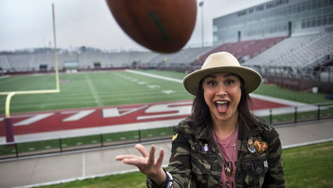 Rachel Baribeau, the founder of Changing The Narrative, travels to college campuses to speak to student-athletes.
