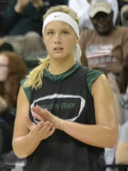 Freshman guard/forward Jessica Lindstrom looks on during a preseason srimmage last Saturday at the Kress Events Center. Lindstrom is a graduate of Superior High School.