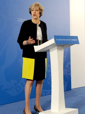 British Prime Minister Theresa May delivers a speech at the British Academy in London on September 9, 2016.