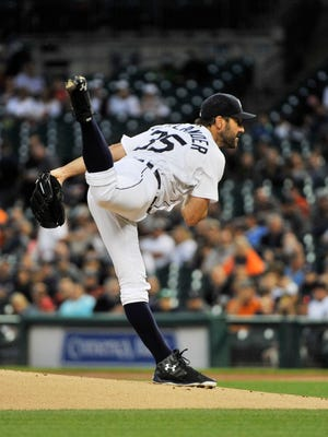 Tigers pitcher Justin Verlander works in the first inning.