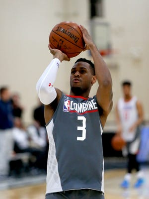 Monte Morris, from Iowa State, takes a shot during the NBA draft combine May 11, 2017, in Chicago.