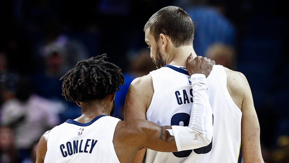 Memphis Grizzlies teammates Mike Conley (left) and