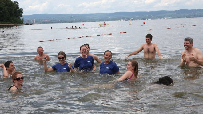 Members of the Waterkeeper Alliance and Riverkeeper swim in the Hudson River at Croton Point Park July 17. The Riverkeeper released a report on how clean the water is at places where we swim.