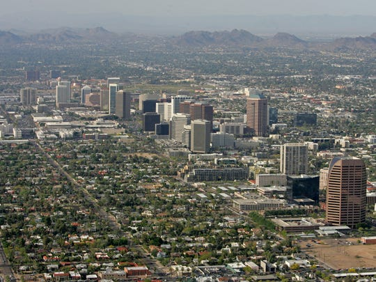 Buildings along Central Avenue, looking north in Phoenix.