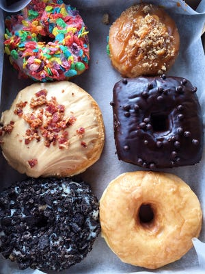 Box of assorted doughnuts at Donut Bar in Southfield.