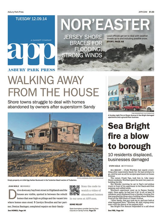 Asbury Park Press front page Dec. 9