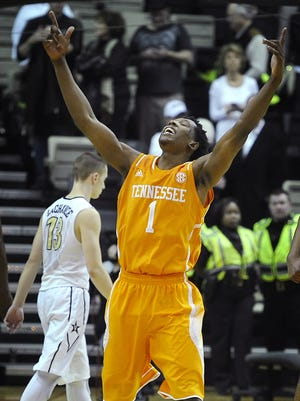 Tennessee guard Josh Richardson (1) celebrate after the Vols defeated Vanderbilt 76-73 in overtime Wednesday. Wednesday Feb. 11, 2015, in Nashville, TN