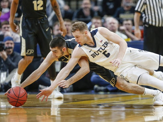 Butler Bulldogs guard Paul Jorgensen (5) and Purdue