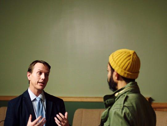 Wyatt Cenac talks with Mayor Peter Lindstrom of Falcon