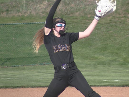 Kennard-Dale sophomore Alexis Hurley winds up to pitch
