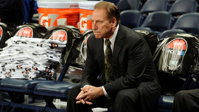 Michigan State coach Tom Izzo looks on before an NCAA college basketball game against Notre Dame, Wednesday Dec. 3, 2014, in South Bend, Ind.