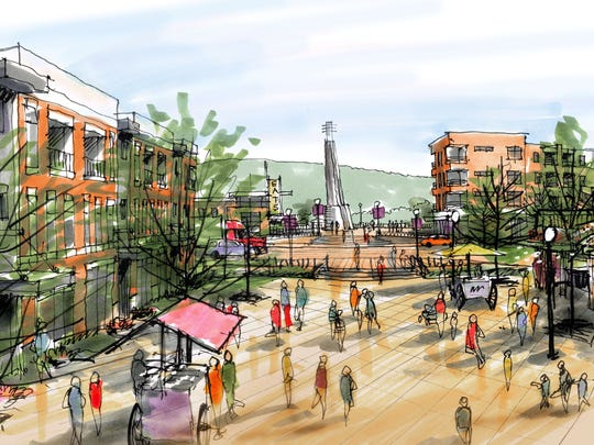 One possibility for downtown Clinton is a broad open-air