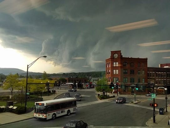 A thunderstorm moves in to Rutland on May 27, 2014, bringing damaging winds and hail and prompting a tornado warning.