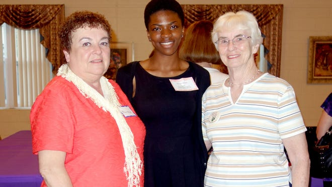 (From left) Norene Ritter, president of the Woman's Club of Vineland, Priscilla Adenugba, a junior at Vineland High School and the club's delegate for the New Jersey State Federation of Women's Clubs' Girls Career Institute, and Carol Parks, former president.
