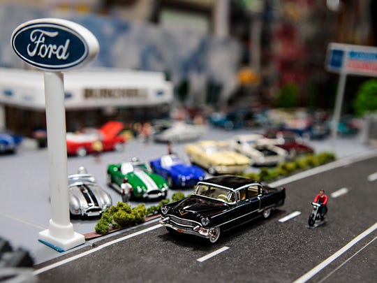 Gregory Burchell created this 1960s-era Ford dealership in miniature. He displays this diorama in his Murfreesboro garage.