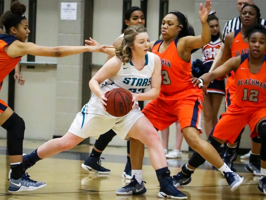 Siegel's Victoria Miller is defended by Blackman's