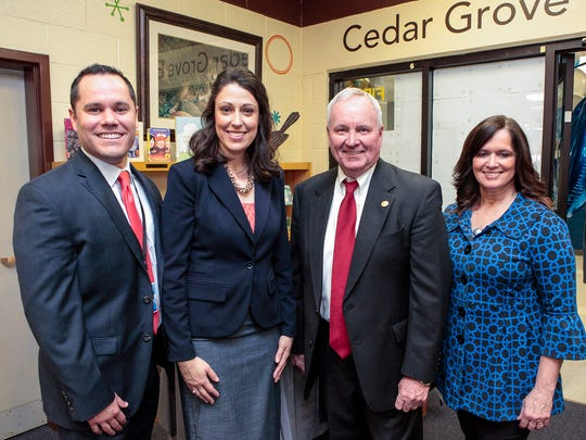 Cedar Grove Elementary has had four principals, from left, Mark Gullion (the third); Paige Jorge (the current principal); Harry Gill (the first and later superintendent of Rutherford County Schools); and Kellye Goostree (the second). All four were on hand for the school's 20th anniversary celebration March 10, 2017.