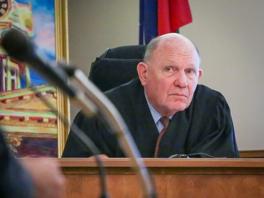 Circuit Court Judge Royce Taylor listens to attorneys during the trial of Sinead Omer and Terry Craighead on April 12, 2017.