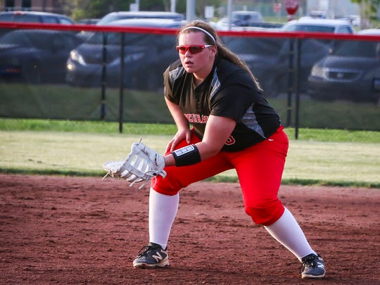 Stewarts Creek's Loryn Sherwood awaits a play at first base.
