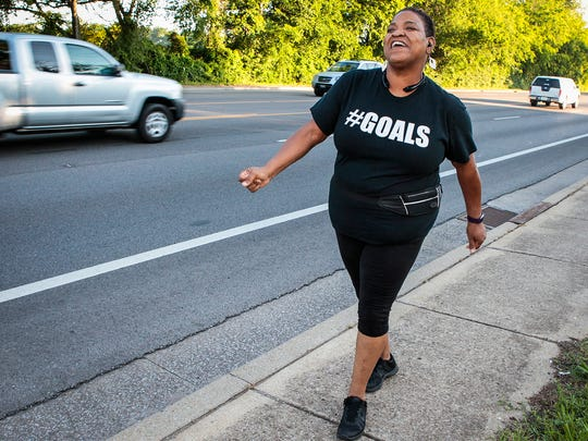 Catrina Daniel knew she had to lose weight, so she started walking, which she hated. But the line dance aficionado decided to put some pep in her step and she's been entertaining passers-by on Memorial Boulevard with her dance-walk routine.