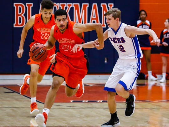 Blackman's Trent Gibson scored 20 points and dished out five assists as the unbeaten Blaze knocked off Stone Memorial 63-25 in the Outback Steakhouse Classic Friday.