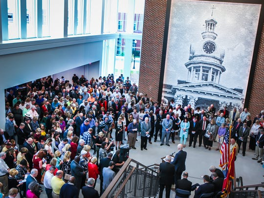 A crowd stands in the lobby of the new Rutherford County Judicial Center.