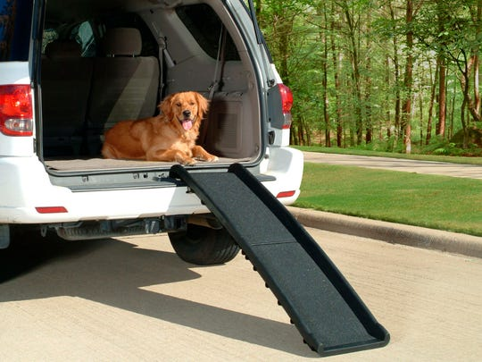 In this photo provided by Wayfair.com, folding steps like these help ease the transport of elderly pets and can be conveniently stored at home or in your vehicle.