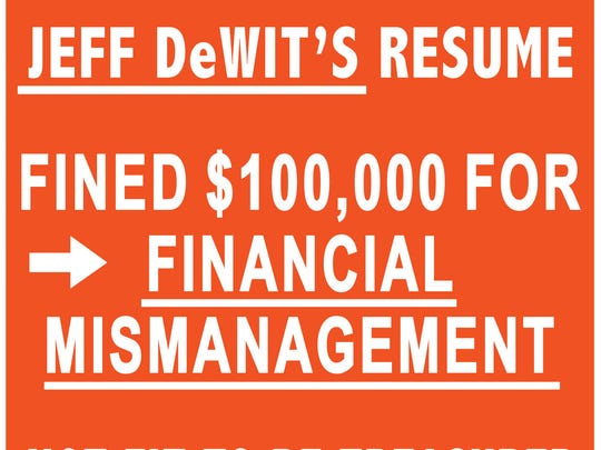 A flier from Preserve America's Future against treasurer candidate Jeff DeWit.