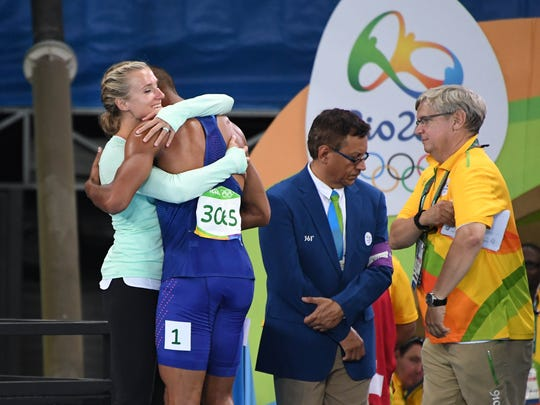 Ashton Eaton celebrates with wife Brianne Thiesen-Eaton