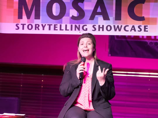 Tina Yost speaks during the Mosaic Story Telling Showcase