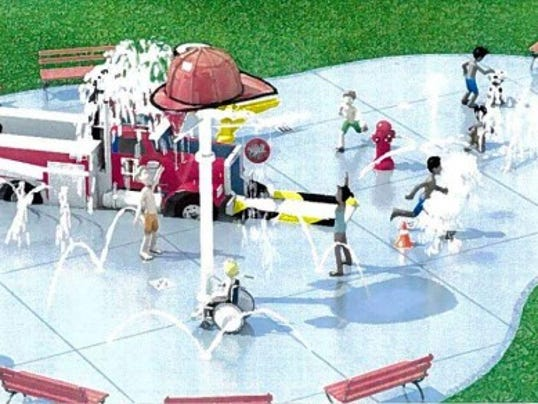 An artist's depiction of what the completed spray park will look like.