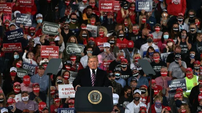 """President Donald Trump talks to supporters Tuesday at a """"Make America Great Again"""" rally in Atlantic Aviation in Moon Township. Lucy Schaly"""