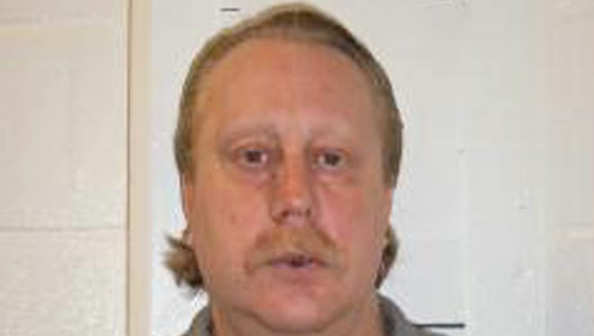 FILE - In this file, Feb. 9, 2014 photo provided by the Missouri Department of Corrections is Russell Bucklew. An attorney for Bucklew filed a request Friday, May 2, 2014 seeking permission to record video of his execution over concerns that he could suffer during the process _ a request that follows a botched execution in Oklahoma. (AP Photo/Missouri Department of Corrections, File)