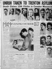 Cover from the September 7, 1949 Evening Courier describing the aftermath of the deadly Howard Unruh massacre that left 13 dead and 3 injured in Camden.